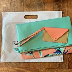 Rachel Pally Reversible Foldover Clutch Zip Top Ta
